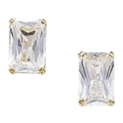 9ct Gold Emerald Cut Cubic Zirconia Stud Earrings 0.66g
